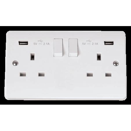 Click CMA780 Socket 2G Swd & USB 13A White