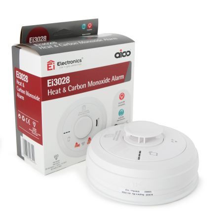 Aico Ei3028 Mains Powered Heat and Carbon Monoxide Alarm with 10yr Rechargeable Lithium Battery Backup