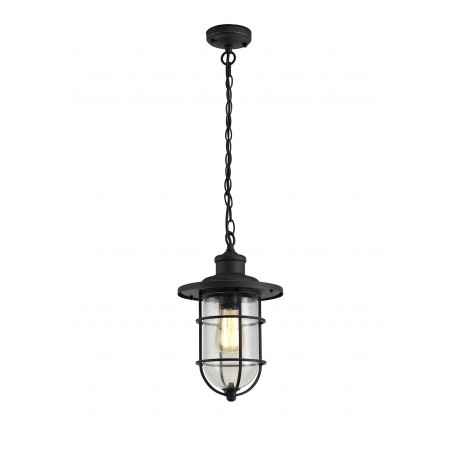 Star Pendant, 1 x E27, Black/Gold With Seeded Clear Glass, IP54, 2yrs Warranty DELight - 1