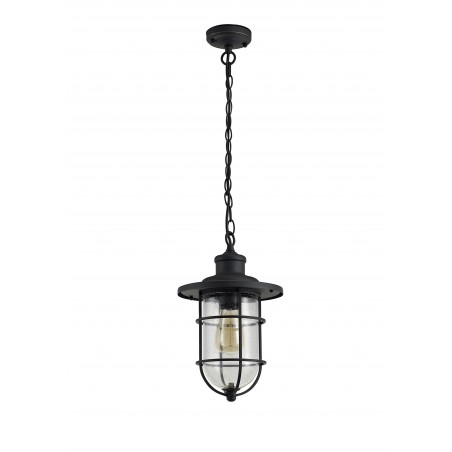 Star Pendant, 1 x E27, Black/Gold With Seeded Clear Glass, IP54, 2yrs Warranty DELight - 4