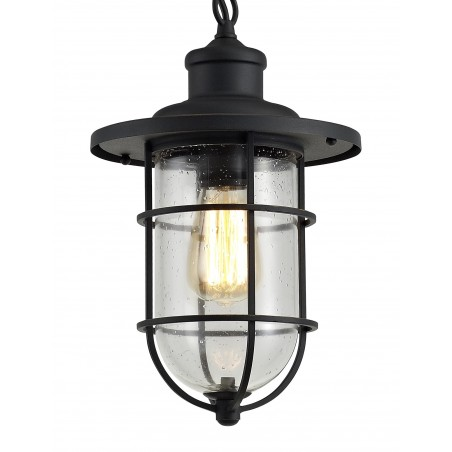 Star Pendant, 1 x E27, Black/Gold With Seeded Clear Glass, IP54, 2yrs Warranty DELight - 6