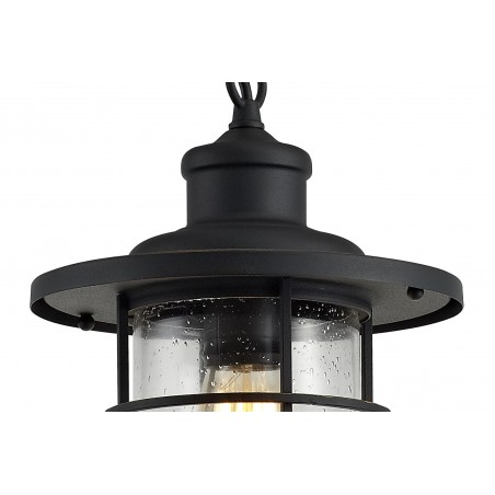 Star Pendant, 1 x E27, Black/Gold With Seeded Clear Glass, IP54, 2yrs Warranty DELight - 7