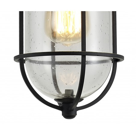 Star Pendant, 1 x E27, Black/Gold With Seeded Clear Glass, IP54, 2yrs Warranty DELight - 8