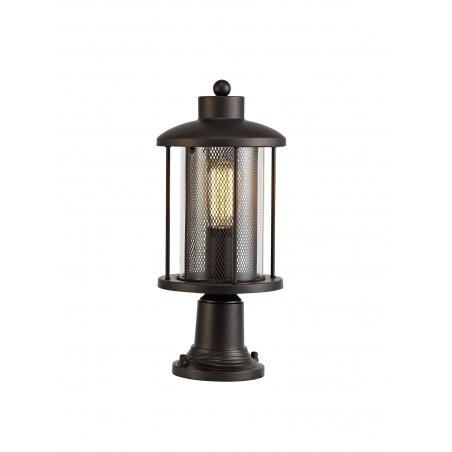 Dawn Pedestal Lamp, 1 x E27, Antique Bronze/Clear Glass, IP54, 2yrs Warranty DELight - 1