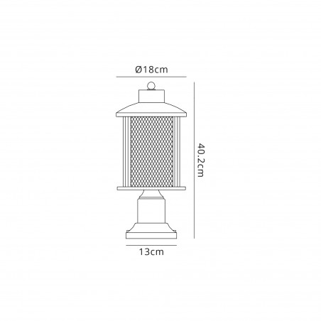 Dawn Pedestal Lamp, 1 x E27, Antique Bronze/Clear Glass, IP54, 2yrs Warranty DELight - 2