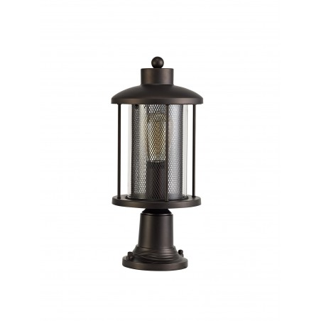Dawn Pedestal Lamp, 1 x E27, Antique Bronze/Clear Glass, IP54, 2yrs Warranty DELight - 3