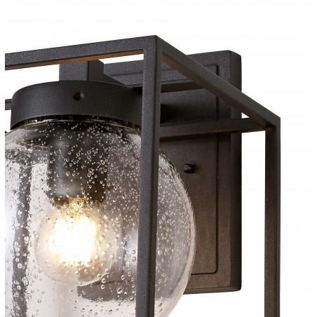 Capella Down Wall Lamp, 1 x E27, IP54, Anthracite/Clear Seeded Glass, 2yrs Warranty DELight - 6