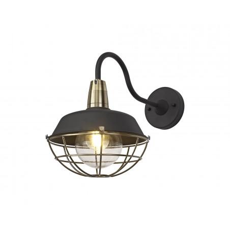 Leda Wall Lamp, 1 Light E27, IP65, Matt Black/Antique Brass, 2yrs Warranty DELight - 1