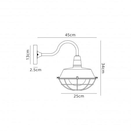 Leda Wall Lamp, 1 Light E27, IP65, Matt Black/Antique Brass, 2yrs Warranty DELight - 2