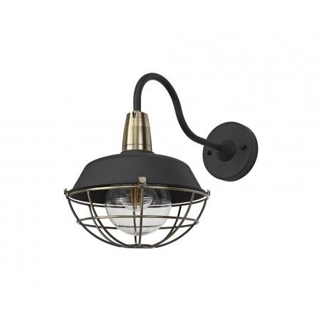 Leda Wall Lamp, 1 Light E27, IP65, Matt Black/Antique Brass, 2yrs Warranty DELight - 3