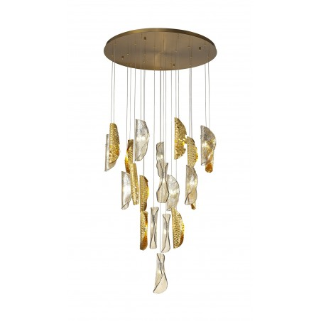 Zeno Pendant 5M, 21 x G9, Brass/Copper & Cognac Glass DELight - 1