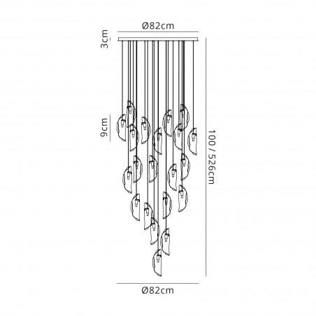 Zeno Pendant 5M, 21 x G9, Brass/Copper & Cognac Glass DELight - 2