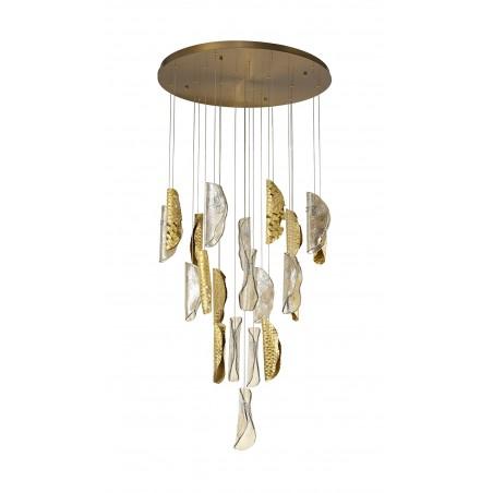 Zeno Pendant 5M, 21 x G9, Brass/Copper & Cognac Glass DELight - 3