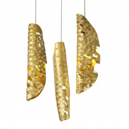 Zeno Pendant 5M, 21 x G9, Brass/Copper & Cognac Glass DELight - 10