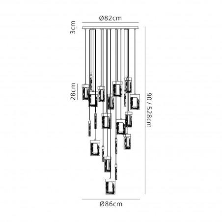 Mia Pendant 5M, 21 x 4.5W LED, 3000K, 3360lm, Polished Chrome, 3yrs Warranty DELight - 2