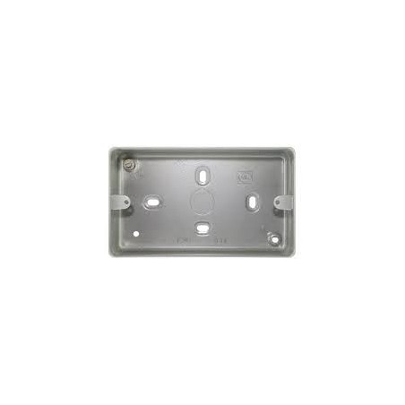 MK K2214ALM 2 Gang 41mm Metal Surface Box with Knockouts