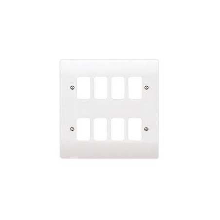 MK K3638WHI 8 gang White Grid Plate