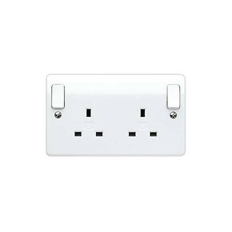 MK K2746WHI 2 Gang 13A White Double Pole Dual earth Socket with Outboard Rockers