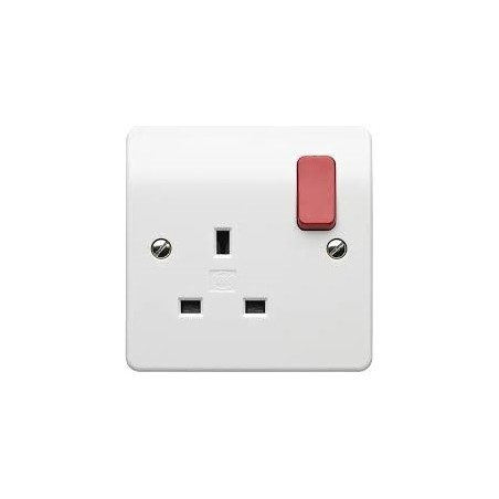 MK K2757D1WHI 1 Gang 13A White Double Pole Dual earth Socket with Red Rockers
