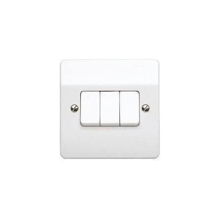 MK K4873WHI 3 Gang 2 Way 10A White Switch