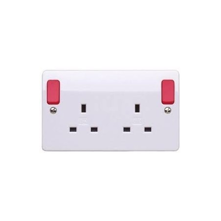 MK K2746D1WHI 2 Gang 13A White Double Pole Dual earth  Socket with Red Rockers