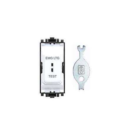 MK K4898ELWHI 20A 2 way Single Pole White Secret Key Grid Switch marked EMERGENCY LIGHTING