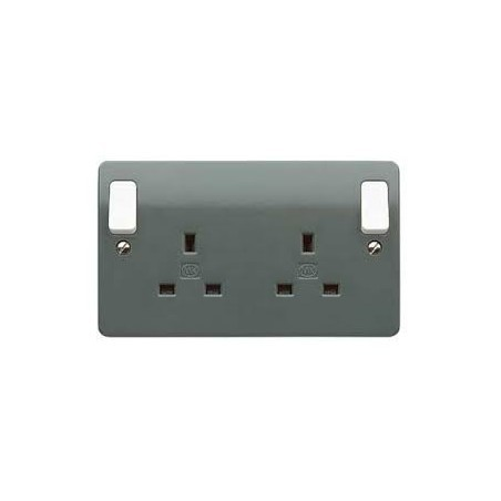 MK K2746GRA 2 Gang 13A Grey Double Pole Dual earth  Socket with Outboard Rockers