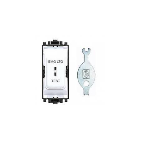 MK K4917ELWHI 20A 2 way Double Pole White Secret Key Grid Switch marked EMERGENCY LIGHTING