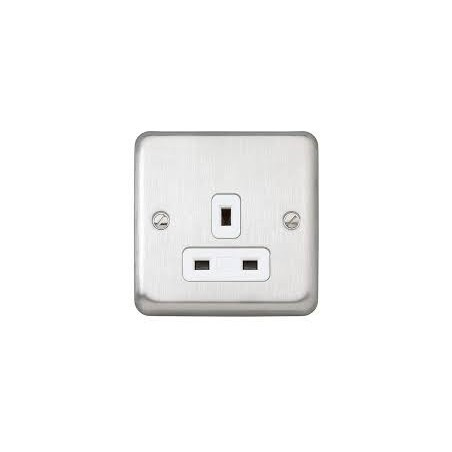 MK K732BSS 13A 1 Gang Unswitched Floor Socket in Brushed Stainless Steel