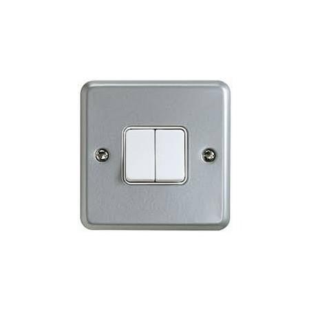 MK K3592ALM 2 Gang 2 Way 10A Metalclad Switch