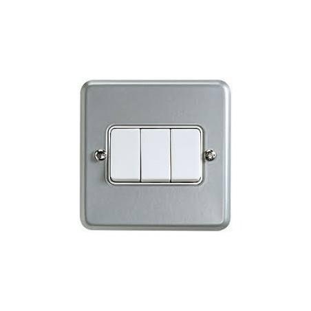 MK K3593ALM 3 Gang 2 Way 10A Metalclad Switch