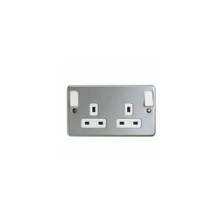 MK K2945ALM 2 Gang 13A Metal Double Pole Dual earth Socket with Outboard Rockers