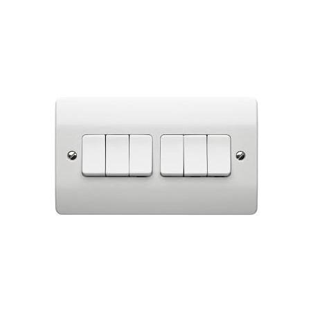 MK K4879WHI 6 Gang 2 Way 10A White Switch
