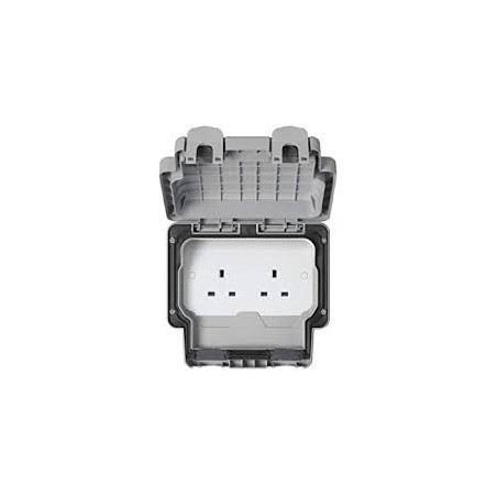 MK K56481GRY 13A 2 Gang Unswitched Masterseal Socket IP66 Grey