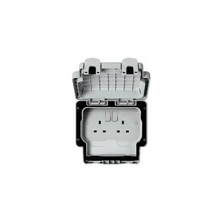 MK K56482GRY 13A 2 Gang Double Pole Switched Masterseal Socket IP66 Grey