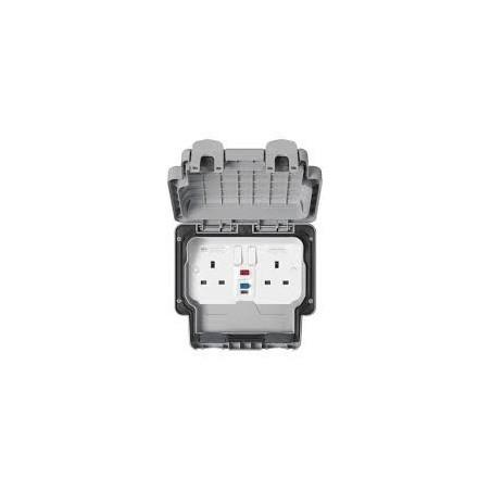 MK K56233GRY 13A 2 Gang 30MA RCD Passive Masterseal Socket IP66 Grey