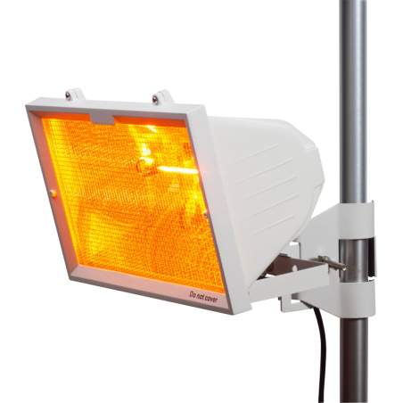 Knightsbridge HEOD1309W IP24 1300W Outdoor Infrared Heater with Mesh Grille and RS7 1300W Tube White