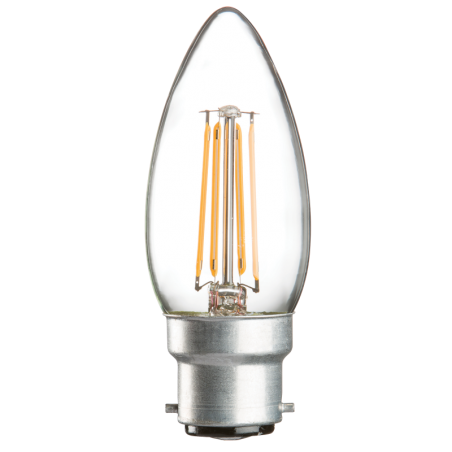 Knightsbridge CL4BCC 230V 4W LED 35mm BC Clear Candle 3000K