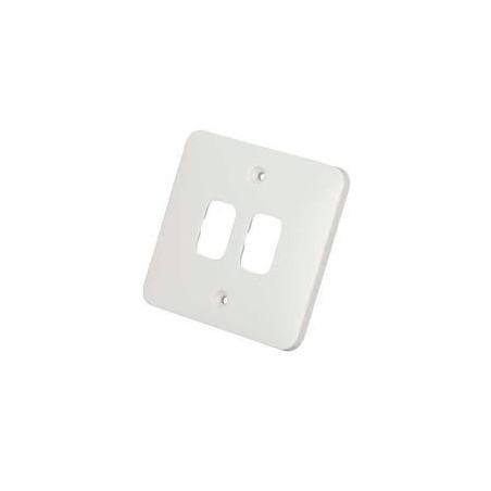 Schneider Lisse GGBL02G 1 Gang 2 Module White Grid Plate 88x88mm