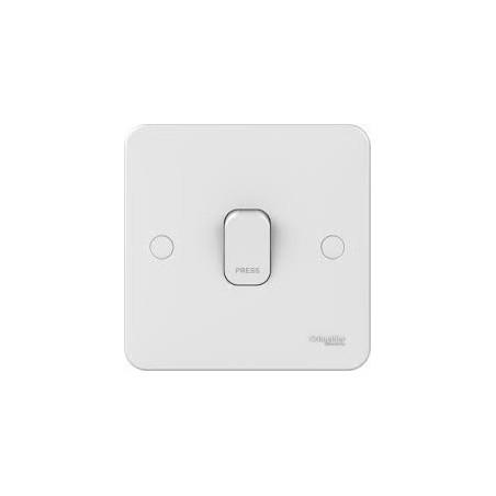 "Schneider Lisse GGBL1012RP 1 Gang 2 Way 6A White Retractive Switch Marked ""PRESS"""