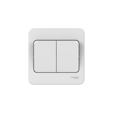 Schneider Lisse GGBL1022WS 2 Gang 2 Way 10A White Switch with Wide Rockers