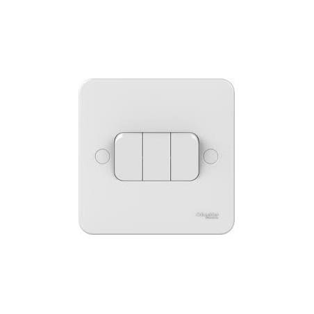 Schneider Lisse GGBL1032 3 Gang 2 Way 10A White Switch