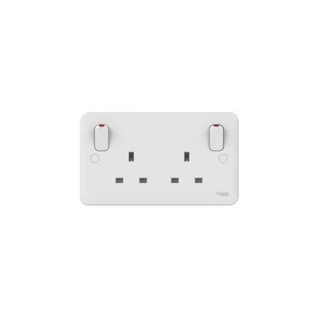 Schneider Lisse GGBL3030S 13A 2 Gang Double Pole White Switched Socket