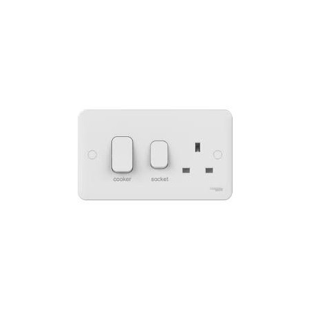 Schneider Lisse GGBL4001 45A White Cooker Connenction Unit with a 13A 1 Gang Switched Socket