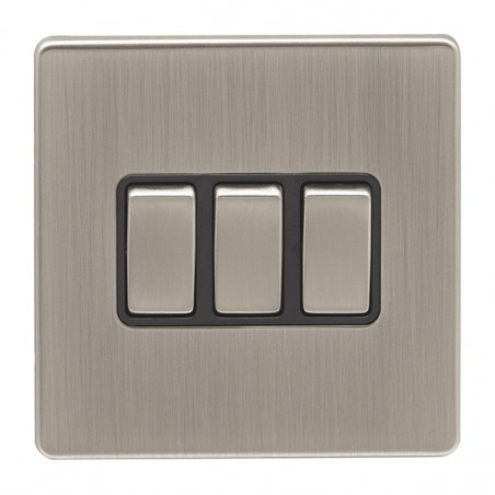 Eurolite ECSN3SWSNB 10A 3 Gang 2 Way Screwless Flatplate Satin Nickel/Brushed Nickel Switch with Matching Rockers and Black Trim