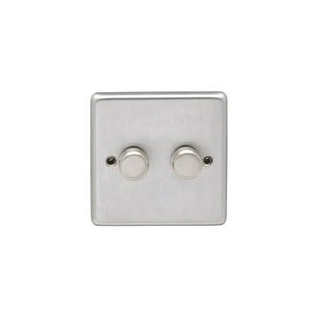 Eurolite SSS2DLED 2 Gang 2 Way LED Round Edge Satin Stainless Steel/Brushed Chrome Dimmer with Matching Knobs (Push On/Off)