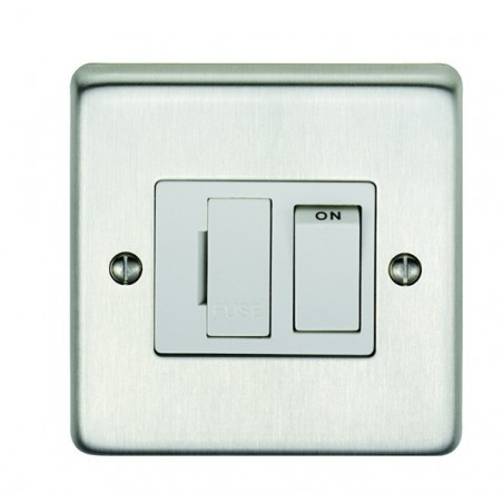 Eurolite SSSSWFW 13A Double Pole Round Edge Satin Stainless Steel/Brushed Chrome Switched Fuse Spur with White Rocker