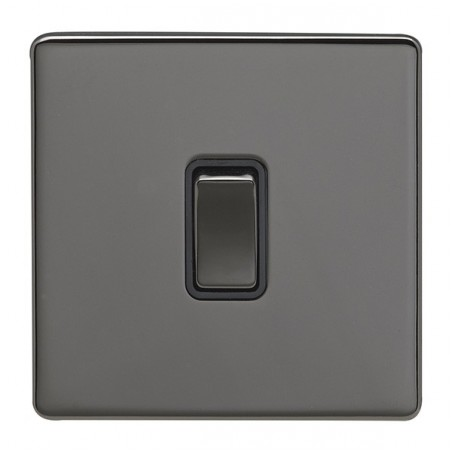 Eurolite ECBN1SWBNB 10A 1 Gang 2 Way Screwless Flateplate Black Nickel Switch with Matching Rocker and Black Trim