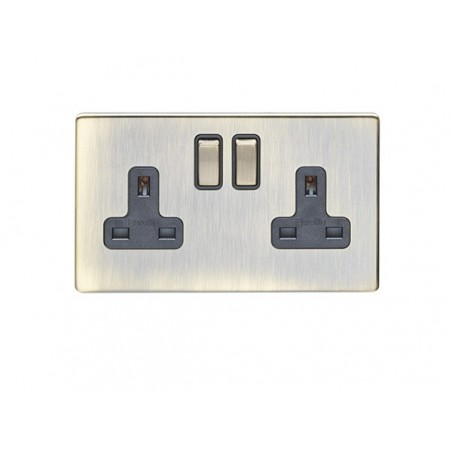 Eurolite AB2SOB 13A 2 Gang Double Pole Screwless Flatplate Antique Brass Switched Socket with Matching Rockers