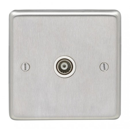 Eurolite SSS1TVW 1 Gang Round Edge Satin Stainless Steel/Brushed Chrome Tv Coaxial Socket with White Interior